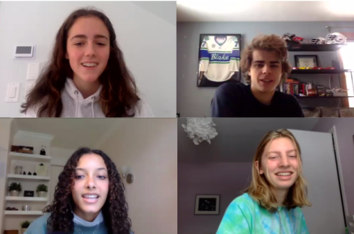 Rachel Winkey '21, Ryan Ressemann '21, Solveig Bingham '21, and  Ellie Goddard '21 are four of the assembly moderators for the 2020-2021 school year.