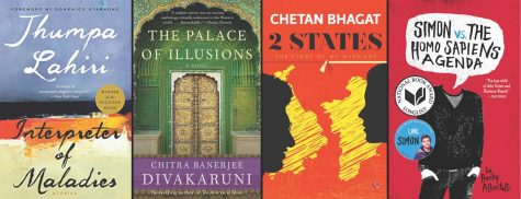 "From left to right: ""Interpreter of Maladies"" by Jhumpa Lahiri, ""The Palace of Illusions"" by Chitra Banerjee Divakaruni, ""2 States"" by Chetan Bhagat, and ""Simon vs. The Homosapiens Agenda"" by Becky Albertalli."