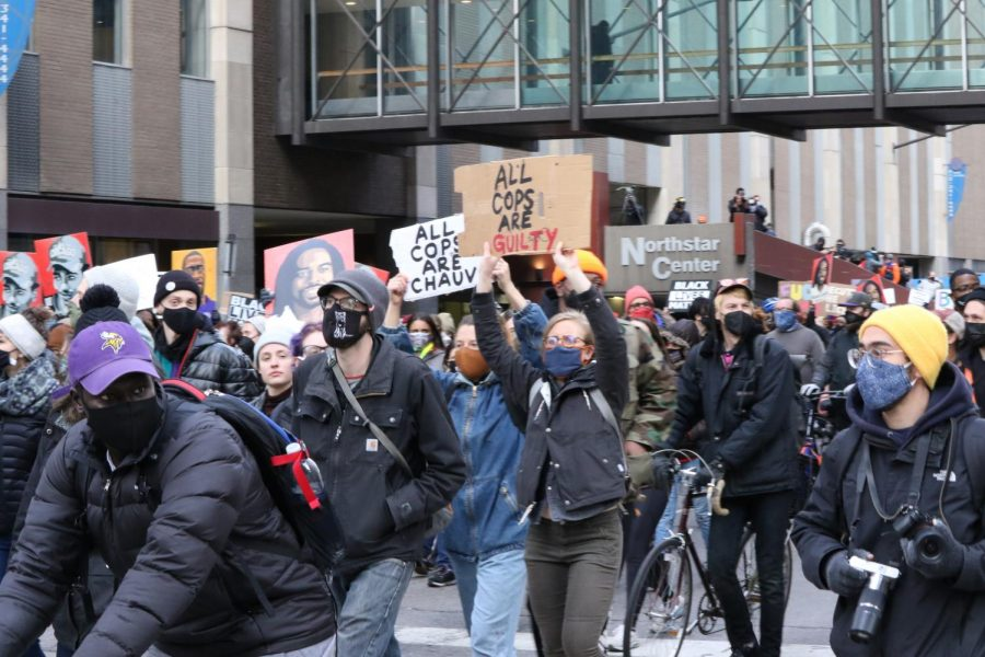 Protestors celebrate Derek Chauvins conviction on 3rd street, while also acknowledging that this is just the beginning of a fight that must continue.